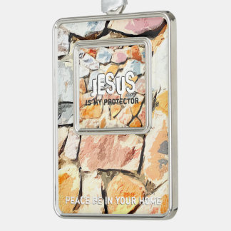 JESUS protects me Silver Plated Framed Ornament