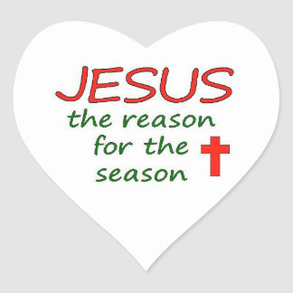 JESUS Reason for Season Heart Sticker