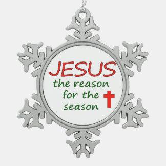 JESUS Reason for Season Pewter Snowflake Decoration
