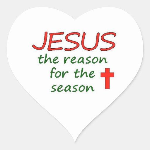 JESUS Reason for Season Heart Stickers