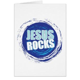 Jesus Rock s 6 Blue Greeting Card