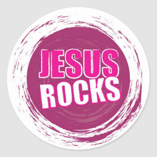 Jesus Rocks 1 Pink Round Sticker