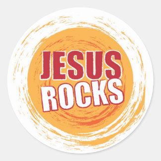 Jesus Rocks 2 Orange Round Sticker