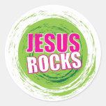 Jesus Rocks 3 Green Classic Round Sticker