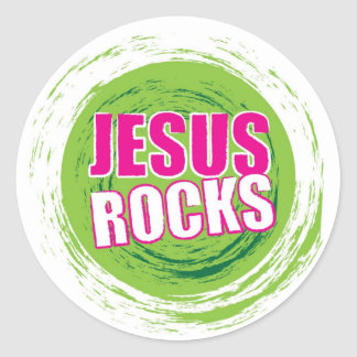 Jesus Rocks 3 Green Classic Round Sticker