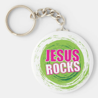 Jesus Rocks 3 Green Keychain