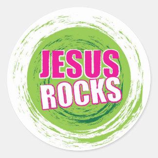 Jesus Rocks 3 Green Round Sticker