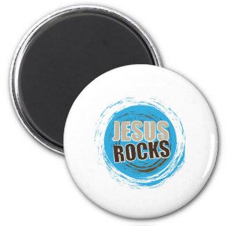 Jesus Rocks 4 Blue & choc 6 Cm Round Magnet