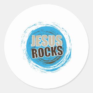 Jesus Rocks 4 Blue & choc Round Sticker