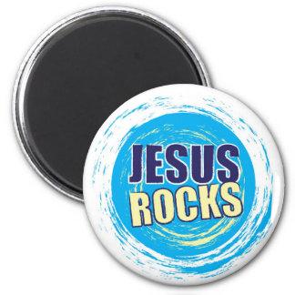 Jesus Rocks 7 Blue & Yellow 6 Cm Round Magnet