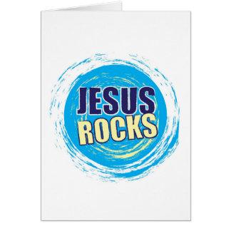 Jesus Rocks 7 Blue & Yellow Greeting Card