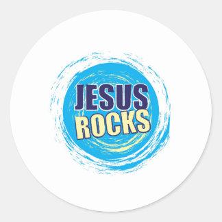 Jesus Rocks 7 Blue & Yellow Round Stickers