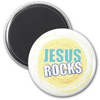 Jesus Rocks 8 Yellow 6 Cm Round Magnet