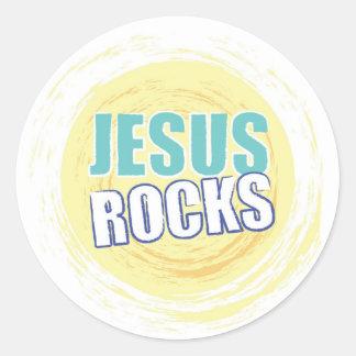 Jesus Rocks 8 Yellow Round Sticker
