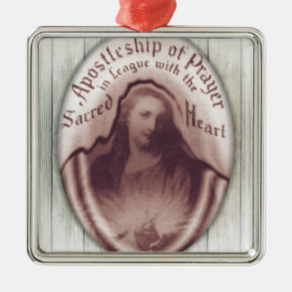 Jesus Sacred Heart Hanging Wall Plaque Icon Silver-Colored Square Decoration