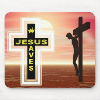 Jesus saves crucifixion picture mouse pad