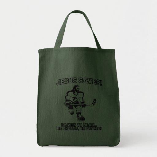 Jesus Saves Hockey funny tshirt Bags