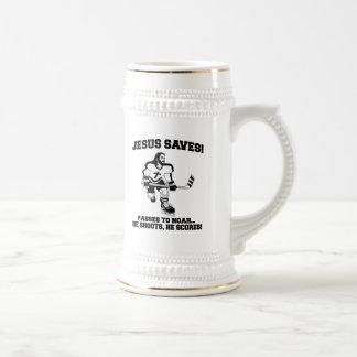 Jesus Saves Hockey funny tshirt Beer Steins