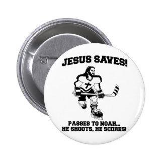 Jesus Saves Hockey funny tshirt Button