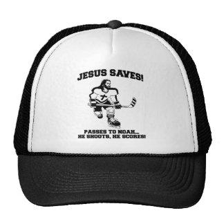 Jesus Saves Hockey funny tshirt Trucker Hat