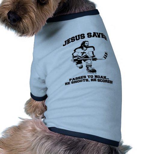 Jesus Saves Hockey funny tshirt Pet Clothing