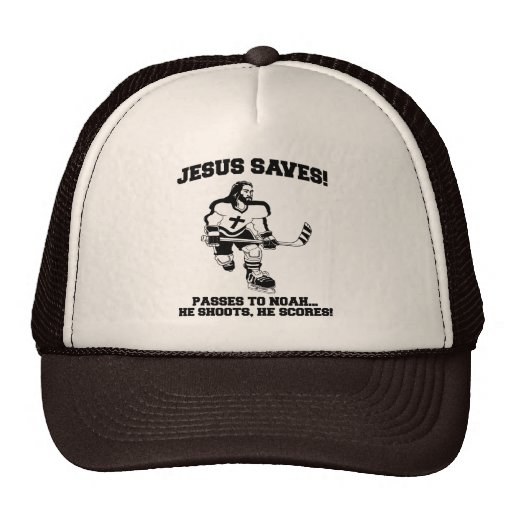 Jesus Saves Hockey funny tshirt Mesh Hats