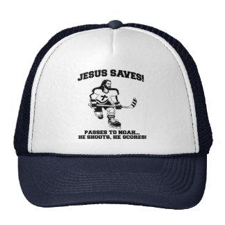 Jesus Saves Hockey funny tshirt Hats