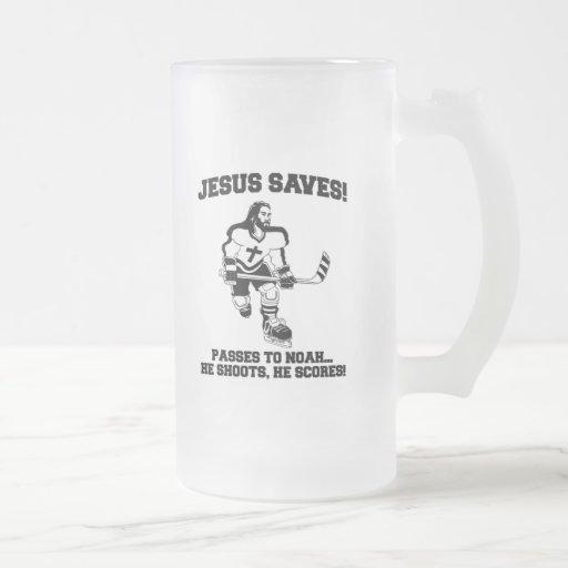 Jesus Saves Hockey funny tshirt Mugs