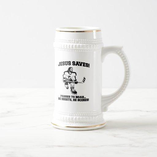 Jesus Saves Hockey funny tshirt Coffee Mug
