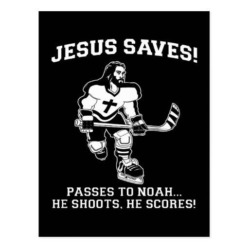 Jesus Saves Hockey funny tshirt Postcards