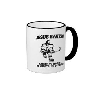 Jesus Saves Hockey funny tshirt Ringer Mug