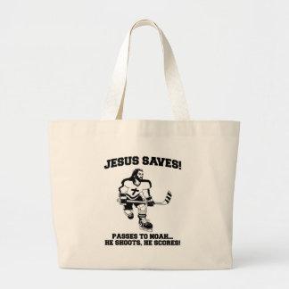 Jesus Saves Hockey funny tshirt Tote Bags