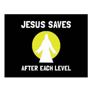 Jesus Saves Level Postcard