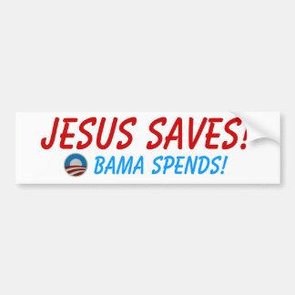 Jesus Saves! Obama Spends! Bumper Sticker