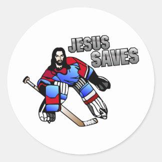 JESUS SAVES ROUND STICKER