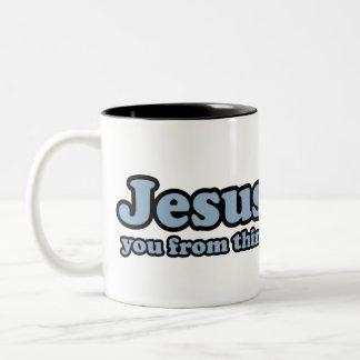 Jesus Saves Satire Two-Tone Mug