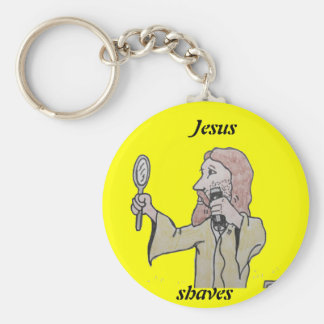 , Jesus , shaves Basic Round Button Key Ring