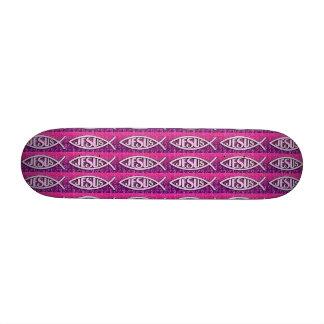 Jesus Skateboard - Light Pink & Dark Purple