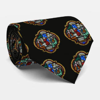 Jesus stained glass panel tie