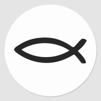 jesus symbol fish round sticker