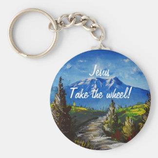 Jesus Take the Wheel Mountain Road Key Ring