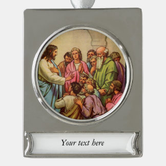 Jesus Teaching in the Temple Silver Plated Banner Ornament
