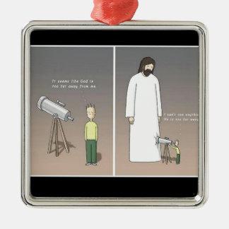 Jesus & Telescope Metal Ornament