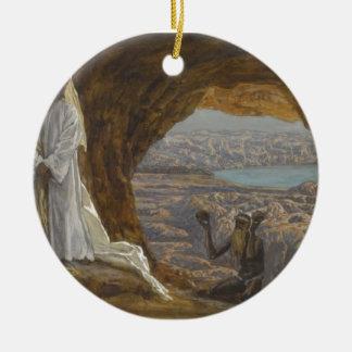 Jesus Tempted in Wilderness Ceramic Ornament