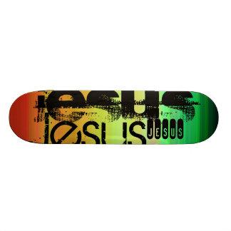 Jesus; Vibrant Green, Orange, & Yellow Skateboard