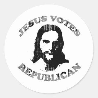 Jesus votes Republican Faded.png Sticker