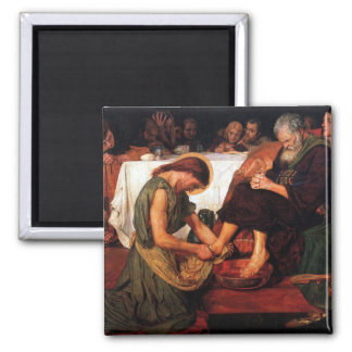 Jesus Washing Peter's Feet Square Magnet