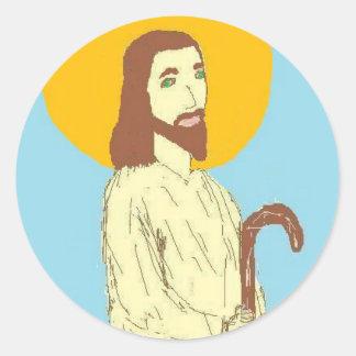 "Jesus ""Where he leads me I will Follow"" Round Sticker"