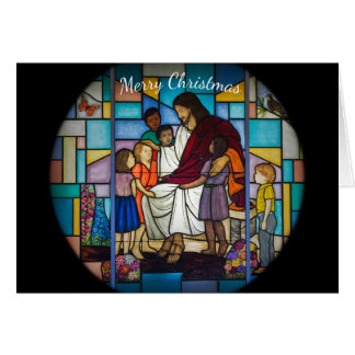 Jesus with children stained glass window card