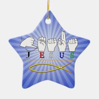 JESUS with CHRISTIAN FISH SYMBOL FINGERSPELLED ASL Ceramic Ornament